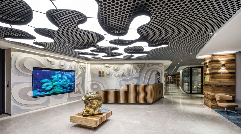 Embodying the concept of 'oceans' within its spaces, DSP Associates design the Microsoft Mumbai office