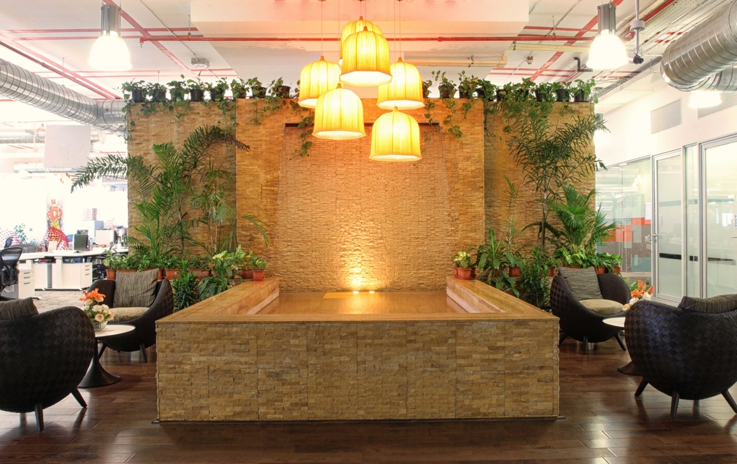 The reception at the Facebook office in Hyderabad.