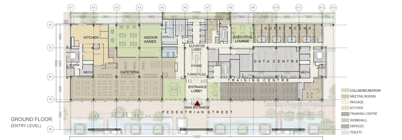 Technical Drawing Of The Adobe Corporate Building Located At Sector 132 Gurgaon Projects Site Plan Elevations Workfloor Plans Corporate Office Design Technical Drawings Adobe India Commerical Design India