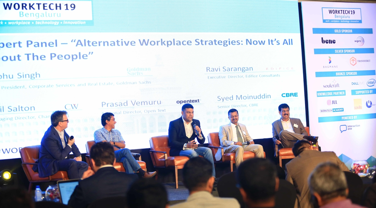 Speakers at Worktech 19, Benagluru – Alternative Workplace Strategies: (L to R) Neil Salton, MD, ChangeWorq; Ravi Sarangan, executive director, Edifice Consultants; Syed Moinuddin, senior director, CBRE; Bibhu Singh, VP - Corporate Services & Real Estate, Goldman Sachs; and Prasad Vemuru, regional director, OpenText.