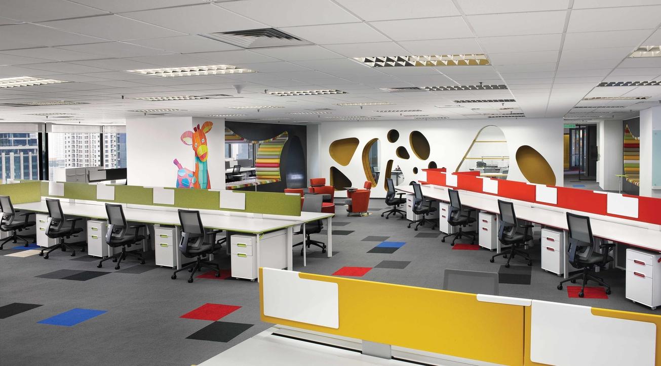 Sherwin-Williams, Corporate office design, M Moser Associates, Office design, Colour, Case study
