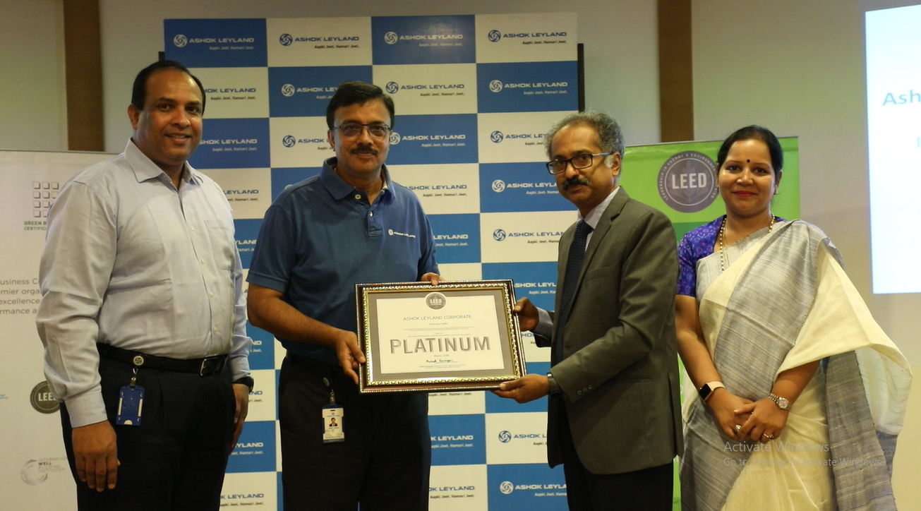(L to R) Major Suresh Kumar, head, Facilities and Office Services and Vinod K Dasari, MD of Ashok Leyland; Gopalakrishnan Padmanabhan, MD - APAC and Middle East, Green Business Certificate Institute (GBCI) and Samhita M, MD, Ela Green Buildings & Infrastructures Consultants, at an event where GBCI handovers Ashok Leyland the LEED v4.1 Platinum Certification.