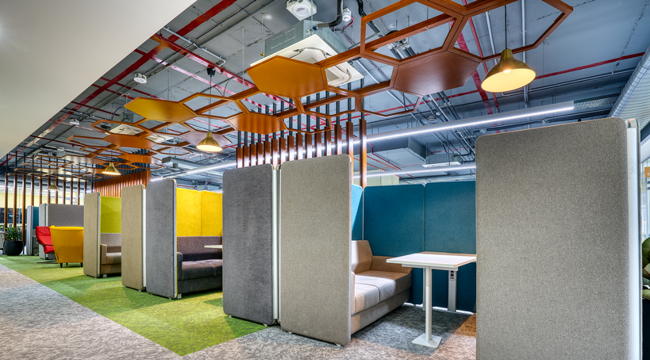 Table space, Salesforce office, Salesforce, Co- working spaces, Office design, Featherlite, Furniture