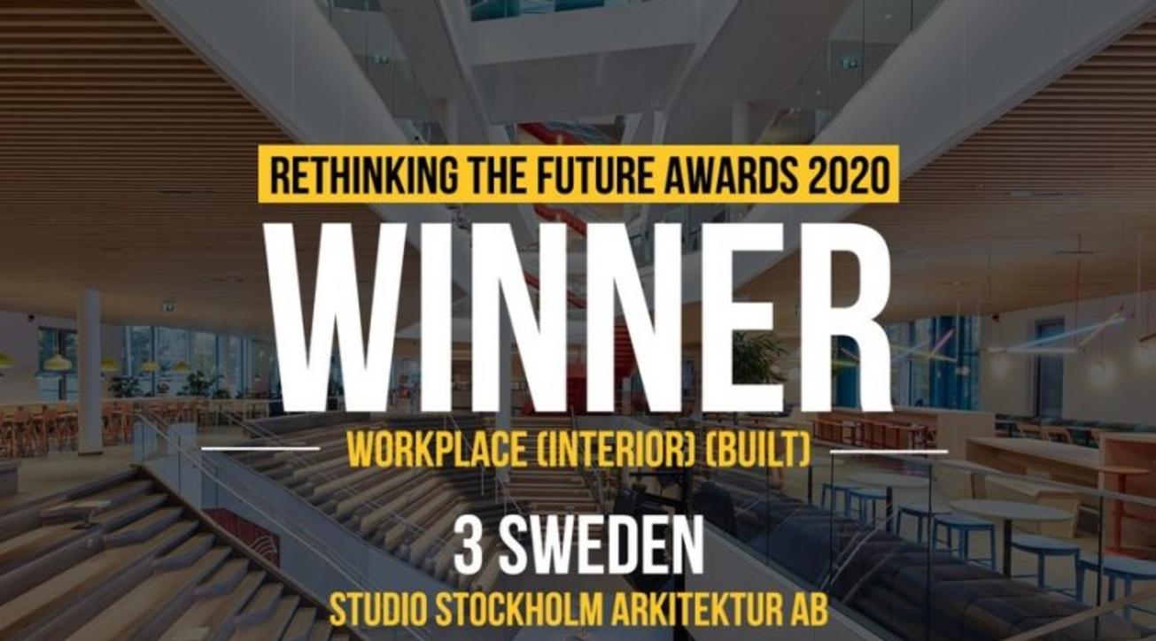 Studio Stockholm Arkitektur AB, 3 Sweden, Rethinking The Future Awards 2020, Workplace, Interior, Built