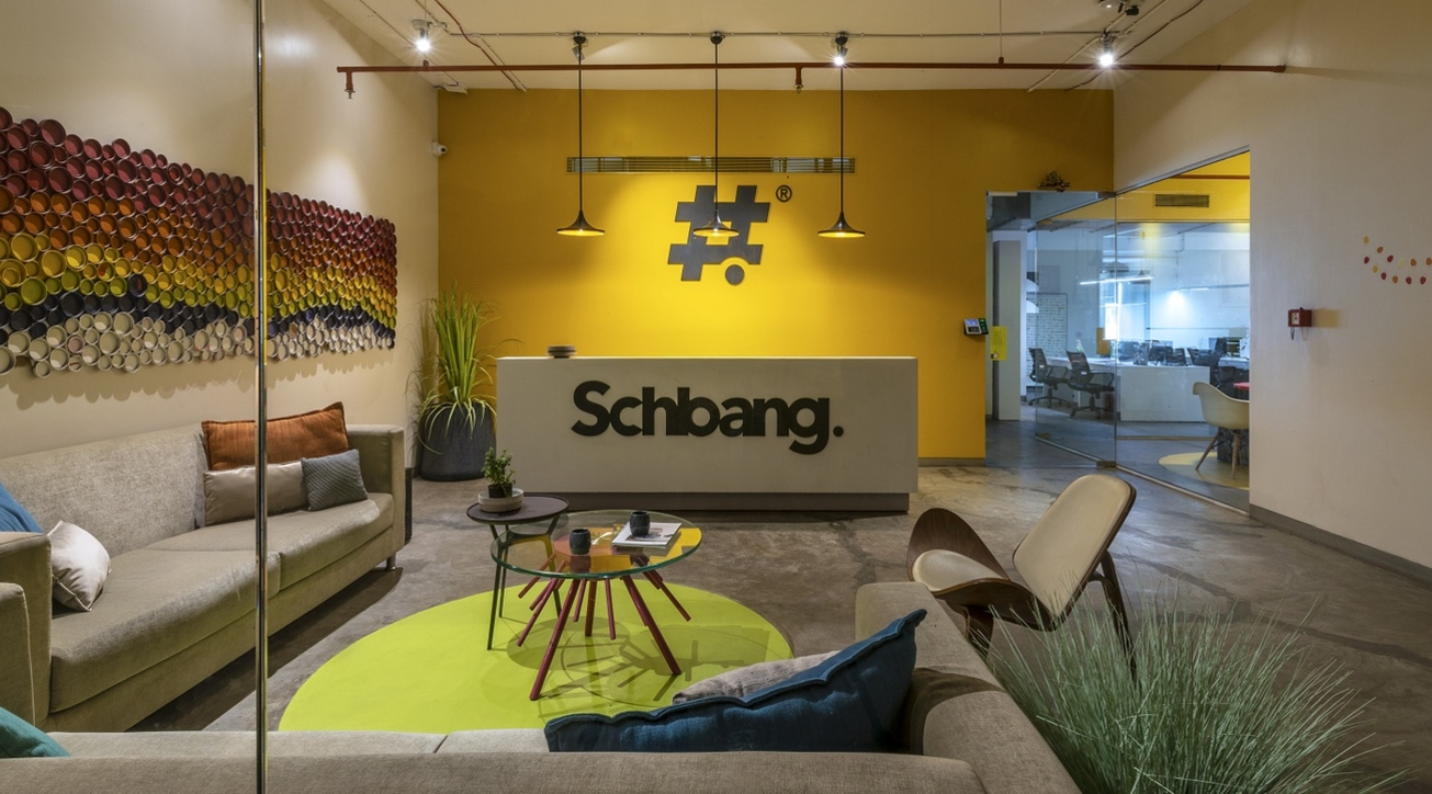 Modern workplace design, Office interiors, Yellow, Creative spaces', Ashleys', Schbang office