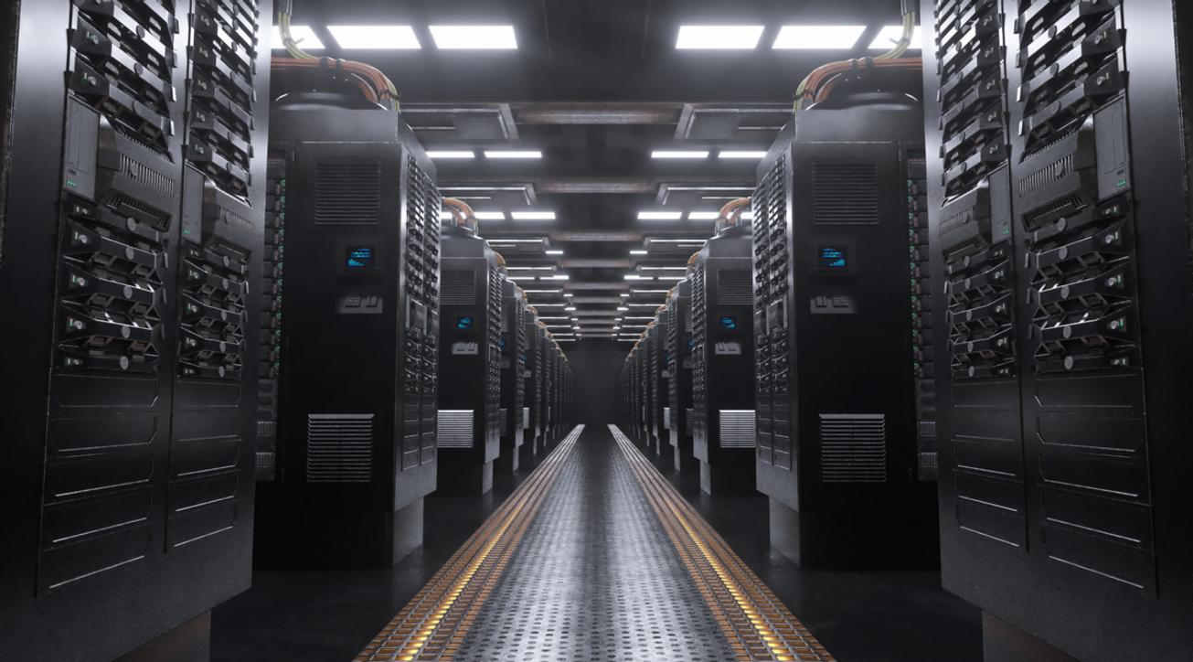 3d render Digital server room background 4k