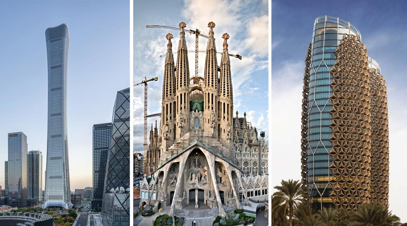 (L to R) China Zun Z15, Beijing; Sagrada Familia, Barcelona; and Al Bahar Towers, Abu Dhabi.