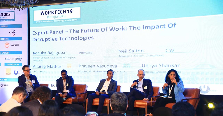 Speakers at Worktech 19 Bengaluru - The Future of Work: (L to R) Neil Salton; Praveen Vasudeva, director, Workplace Resources, CISCO; Udaya Shankar, principal, Design Alphabet; Anurag Mathur, CEO, SAVILLS; and Renuka Rajagopal, senior director, Real